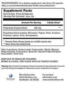 Vitalzym Ingredients Label