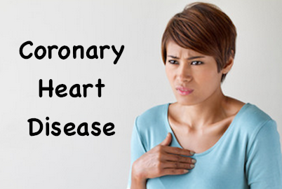 coronary heart disease woman with hand on chest